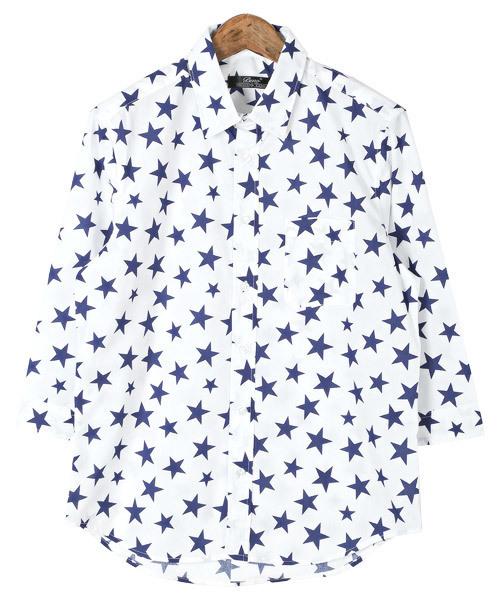 総星柄プリントブロード7分袖シャツ
