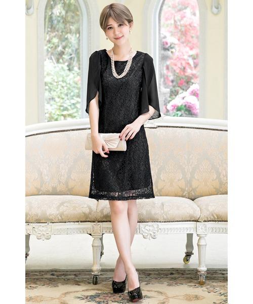 Cinderella(シンデレラ)の「大人女子ケープドレス/結婚式・お呼ばれワンピース パーティードレス(ドレス)」|ブラック