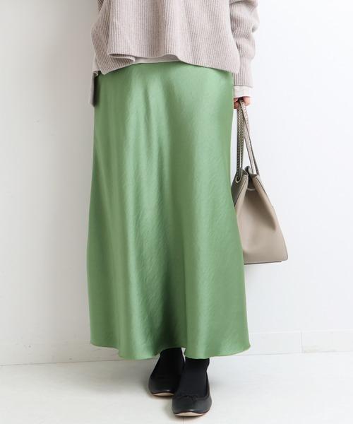 IENA(イエナ)の「《追加2》サテンスリットスカート◆(スカート)」|グリーン