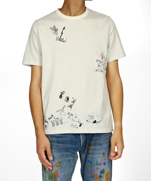 rough sketch grid paper print t shirt red ear 282635 r011r t