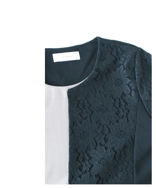 上品なレース袖の羽織りドッキングワンピース