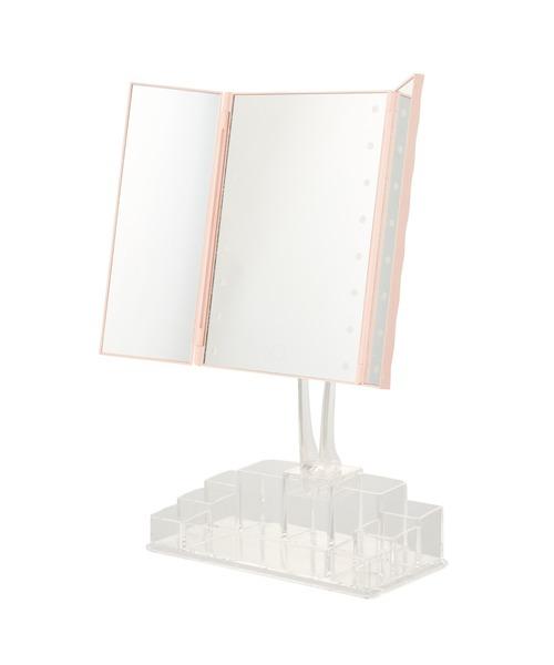 Francfranc(フランフラン)の「ラミラ LED三面ミラー オーガナイザー付き ピンク(メイク雑貨)」|ピンク