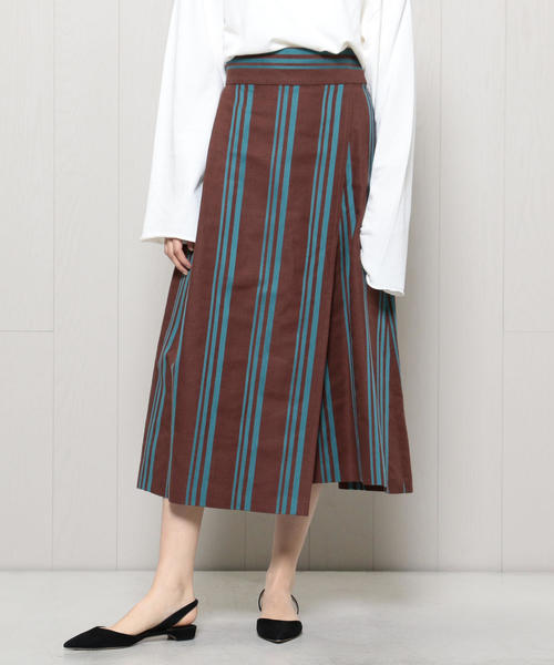 <H>STRIPE WRAP SKIRT/スカート