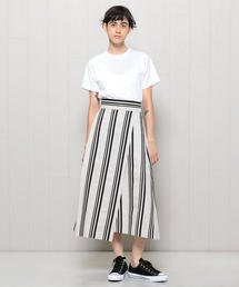 <H>STRIPE WRAP SKIRT/スカート