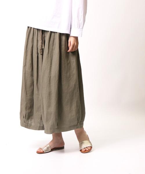 【 ubasoku / ウバソク 】ウエストギャザー裏付き裾タックボリュームパンツ スカーチョ ub-0095 BNT
