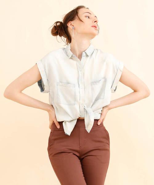 aimoha(アイモハ)の「ライトデニムノースリーブシャツ(シャツ/ブラウス)」 ホワイト