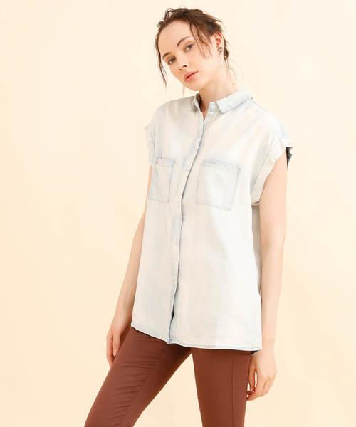 aimoha(アイモハ)の「ライトデニムノースリーブシャツ(シャツ/ブラウス)」 詳細画像