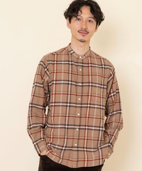 テキサスコットンチェックバンドカラーシャツ#