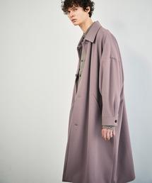 梨地ルーズリラックス オーバーサイズドルマン バルカラーコート/ステンカラーコート 2021S/S EMMA CLOTHESライラック