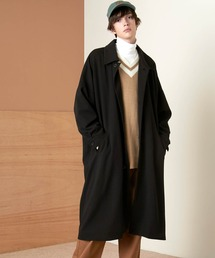 梨地ルーズリラックス オーバーサイズドルマン バルカラーコート/ステンカラーコート 2021S/S EMMA CLOTHESブラック