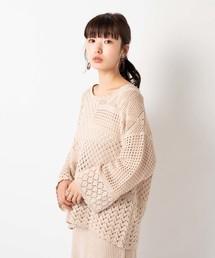 Kastane(カスタネ)のパッチワーク柄編みプルオーバー(ニット/セーター)