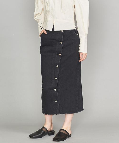 <LEE>ボタンスリットタイトスカート/ブラック