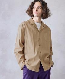 パナマ織り 綿麻ストレッチオープンカラー長袖シャツベージュ