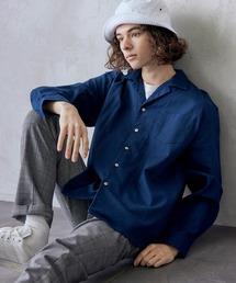 パナマ織り 綿麻ストレッチオープンカラー長袖シャツネイビー