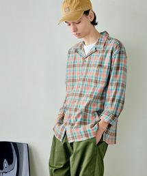 パナマ織り 綿麻ストレッチオープンカラー長袖シャツオレンジ系その他