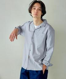 パナマ織り 綿麻ストレッチオープンカラー長袖シャツグレー