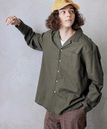 パナマ織り 綿麻ストレッチオープンカラー長袖シャツオリーブ