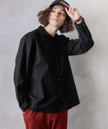 パナマ織り 綿麻ストレッチオープンカラー長袖シャツブラック