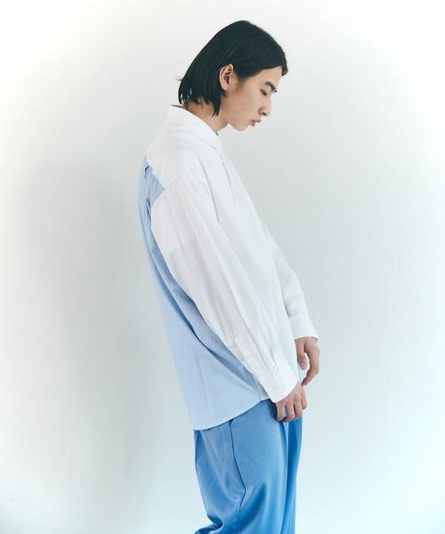 オーバーサイズストライプ切替シャツ【EMMA CLOTHES/エマクローズ】2021 AUTUMN