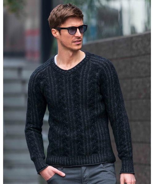 再再販! plating cable knit V/N, マキノ 5261f0fb