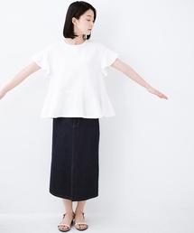 haco!(ハコ)の【洗濯機OK】いつものデニムスタイルを女っぽくしてくれる Tシャツがわりに便利なカットソートップス(Tシャツ/カットソー)
