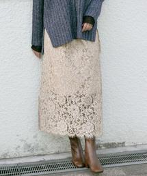 KBF+(ケービーエフプラス)のKBF+ 製品染めレーススカート(スカート)