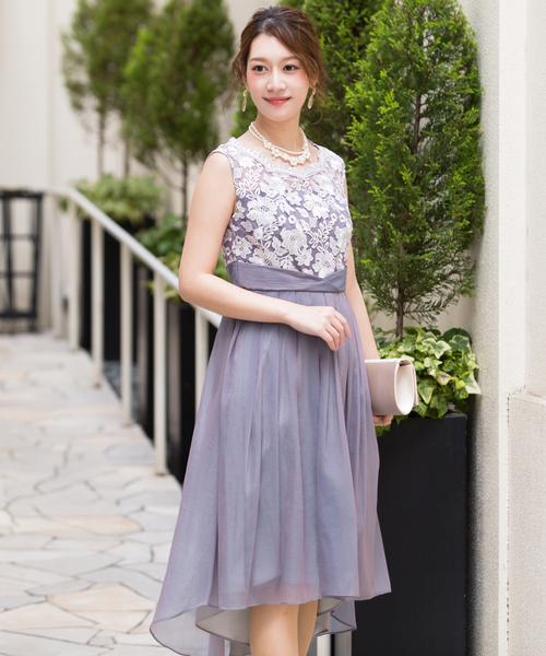 ヴィンテージライク Xラインワンピースドレス / 結婚式ワンピース・お呼ばれパーティードレス