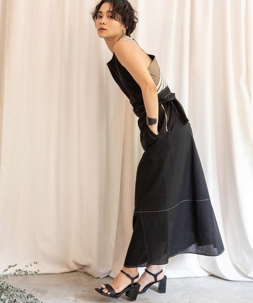 Eimee Law(エイミーロウ)の「【Eimee Law】バックダブルクロス配色ベルト付きノースリーブワンピース(ワンピース)」|ブラック