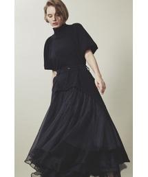 la belle Etude(ラベルエチュード)の【LA BELLE ETUDE】【Belle vintage】リメイクデニムドッキングボリュームチュールスカート(デニムスカート)