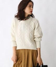 aquagirl(アクアガール)のケーブル編みショート丈ニット(ニット/セーター)
