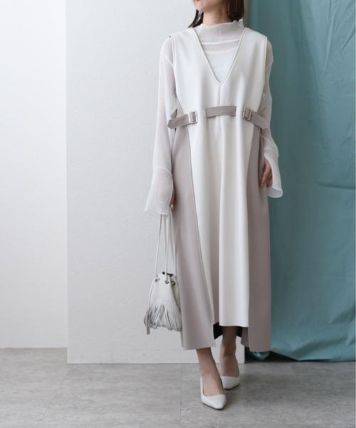 配色ボンディングVネックドレス