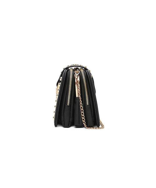 刺繍×スタッズアクセントガマグチ多機能ショルダーバッグ