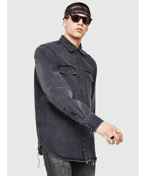 メンズ シャツ ブラックデニムシャツ