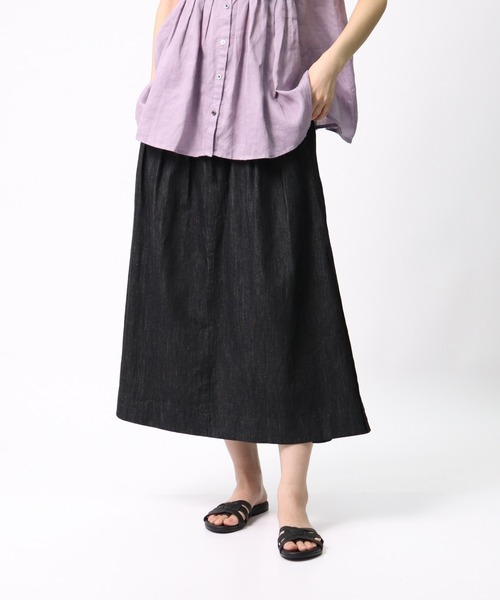 【 ubasoku / ウバソク 】ウエストタック脇ボックスタックロングスカート ub-0087 BNT