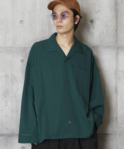 ベーシックオープンカラー長袖シャツ アロハロングスリーブシャツ