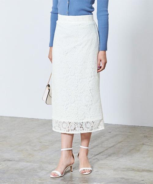 ur's(ユアーズ)の「レースタイトスカート(スカート)」|ホワイト