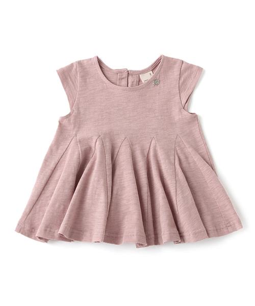 petit main(プティマイン)の「【接触冷感】裾切り替えAライン半袖Tシャツ(Tシャツ/カットソー)」|サーモンピンク