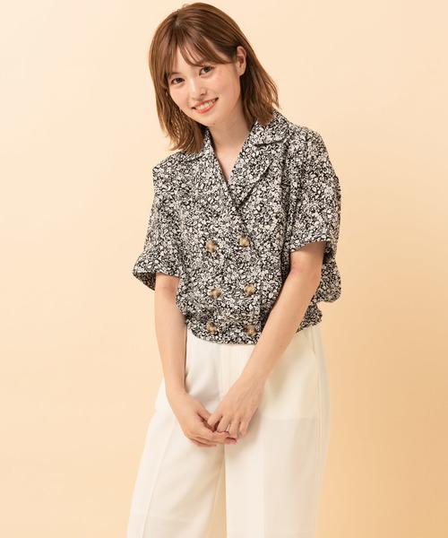 Wボタン花柄開襟シャツ