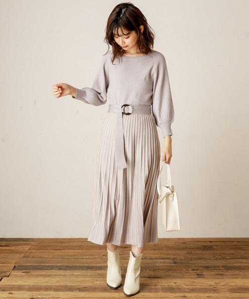 natural couture(ナチュラルクチュール)の「【WEB限定】配色ニットプリーツワンピース(ワンピース)」|ラベンダー