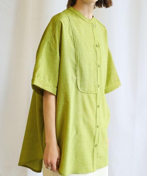 select MOCA(セレクトモカ)の「2020 S/S アシンメトリーパイピングシャツ/オーバーサイズ半袖カラーシャツ(シャツ/ブラウス)」|ライム