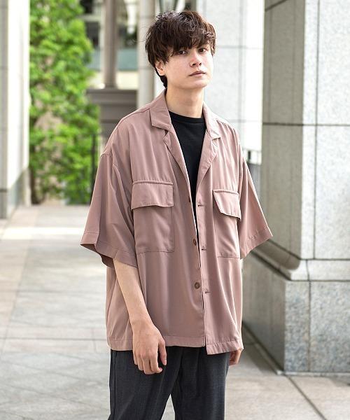 UP START(アップスタート)の「ポリラペルドカラー風ポケットビッグシャツ(シャツ/ブラウス)」|スモークピンク