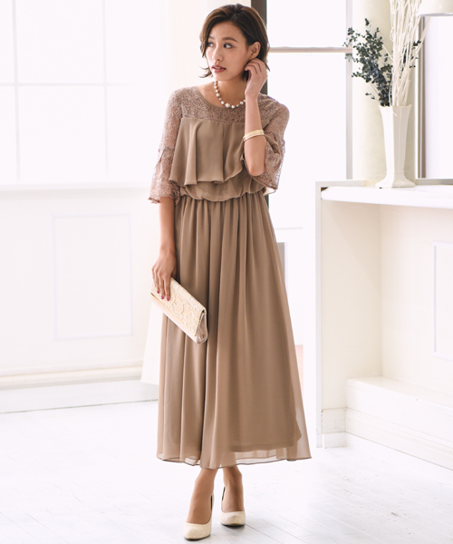 kana(カナ)の「レースフレアスリーブロングドレス(ドレス)」|モカ