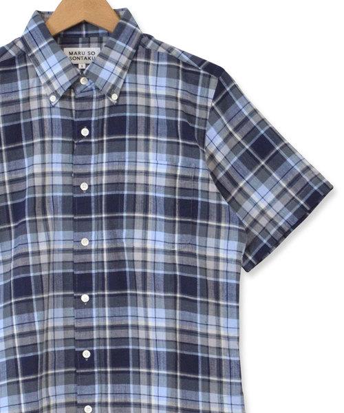 SONTAKU/ソンタク 洗いざらマドラスチェック半袖BDシャツ