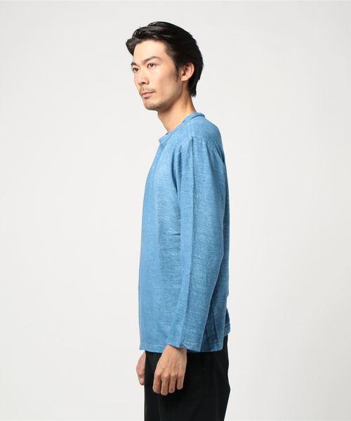藍染め麻世妙のハンドステッチ908Tシャツ