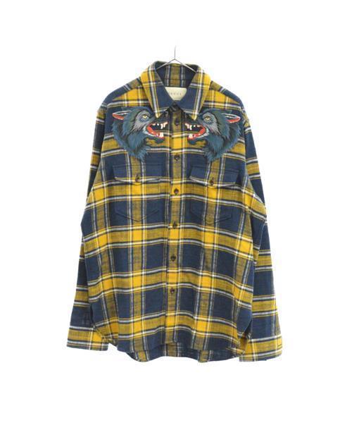 size 40 4afb1 772b2 ウルフパッチ付きバックロゴ フランネルチェック長袖シャツ