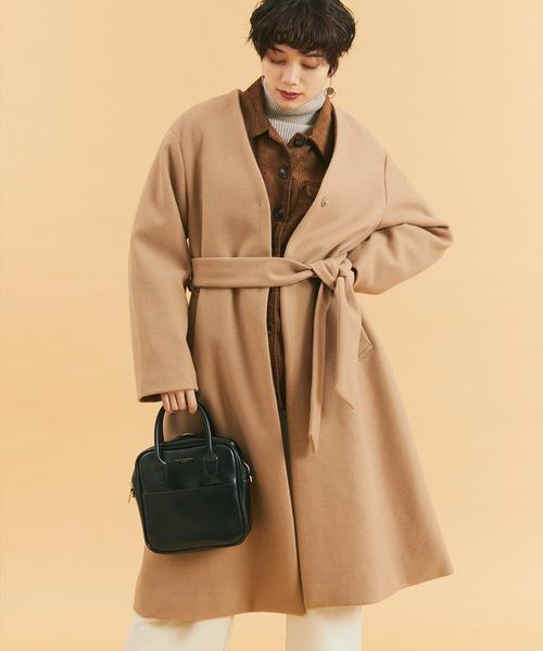 メルトン オーバーサイズ ノーカラー ロングコート