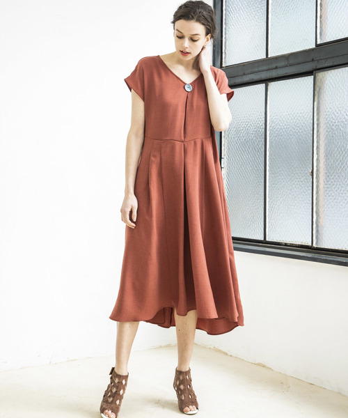 【STYLEBAR】ビッグシェルボタンロングドレス