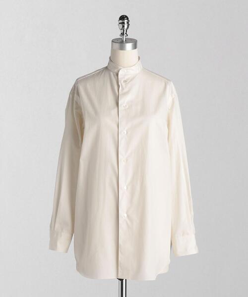 <LOEFF(ロエフ)> コットンブロード バンドカラーシャツ
