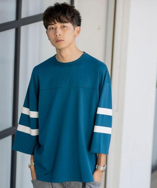 ポンチフットボール7分袖ラインTシャツ