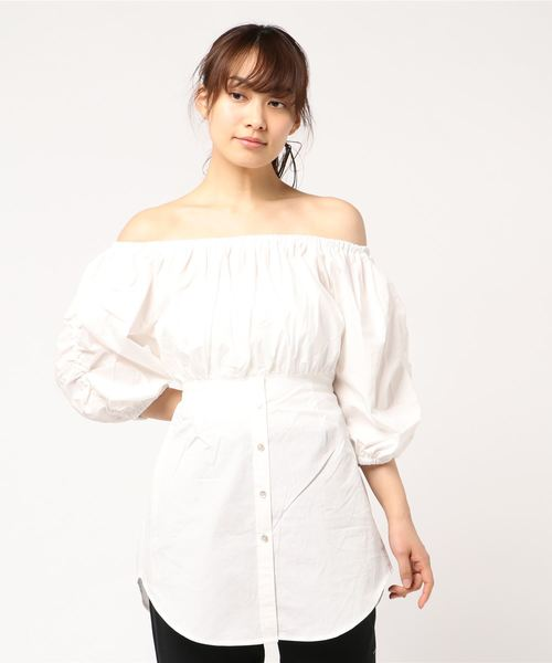 SHIRRING OFF SHOULDER TUNIC